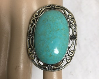 "Turquoise ring, Large oval ring, adjustable size,1 3/4"" x 1.5"",statement ring"