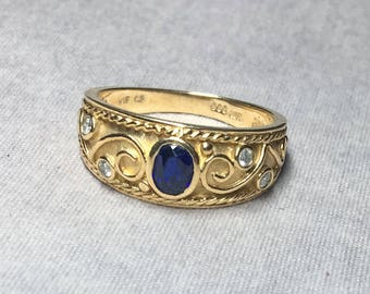 Diamond & Sapphire 10k Yellow Gold Ring
