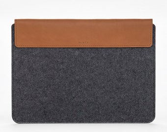 New MacBook Pro 15 Cover – New MacBook Pro 15 Sleeve – Felt Sleeve for Laptop – Cover Case Felt – MacBook Felt and Leather Cover - Grey