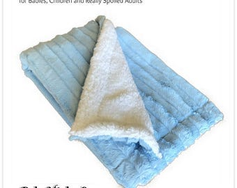 Worlds Softest Minky Cuddle Fur Blanket - Reversible - Soft Blue Stipe With Off White Fleece  Minky Cuddle Fur All Sizes and Colors