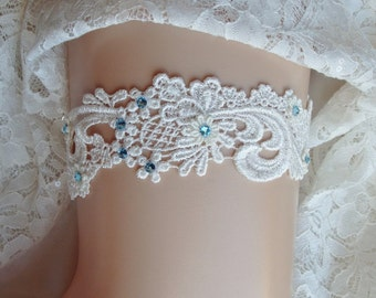 Venice Lace Wedding Garter, Something Blue Garter, Ivory Lace Garter with Aqua Swarovski Crystals, White Lace Garter