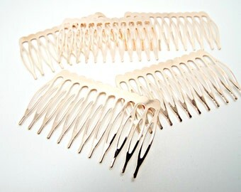 5 Rose Gold Combs,  Metal Hair Combs, Metal Combs, Hair Accessories, Rose Gold, Wire Wrap Combs, Bridal Supply, 65x40mm Combs,  UK Seller