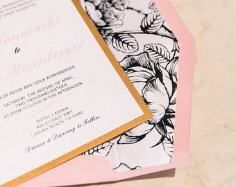 5x7 Metallic Gold Floral & Pink Wedding Invitation Featuring Vintage Flowers - includes Directions Insert, Postcard RSVP and Envelope Liner