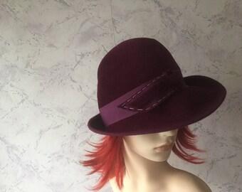 Stunning Very Soft Authentic Vintage Purple Felt Hat sz s/m * Pristine