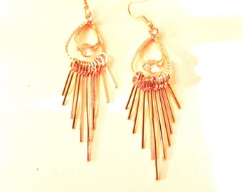 """10% OFF Earrings Spiked Dangle Earrings Rhinestone 3.5"""" Long Gold Tone Perfect Condition SHIPPING SPECIAL 0405 12322"""