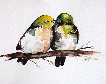 ORIGINAL Watercolor Bird Painting, Green Lovebirds Illustration, Romantic Birds 6x8 inch