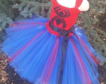Spiderman Inspired Tutu Dress, Spidergirl Dress, Spiderman Dress, Spiderman Tutu, Superhero Costume, Superhero Tutu Dress