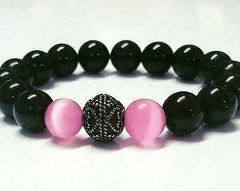 Mexican Opal & Onyx Stretch Gemstone Bracelet