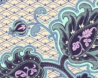 Fabric Amy Butler Love Collection Arabesque in Ivory and Blue 1 yard Cotton Designer Discontinued