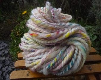 Handspun Yarn, Handspun art yarn, Chunky Yarn, Hand Painted Yarn, Thick & Thin Yarn: RAINBOW CLOUD