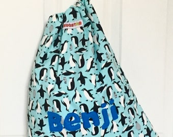 Kid's Drawstring Penguin, Swim, PE bag