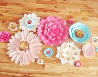 Set of 14 Flowers - Paper Flowers   Paper Flowers for Nursery   Paper Flower Backdrop   Paper Flower   Paper Flower Wall   Paper Flower Art