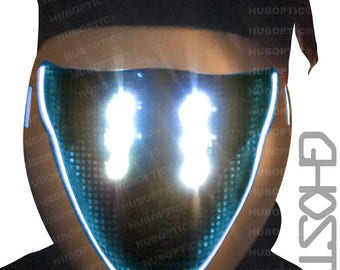 Ghost Mask FX - White LED Light Up Mask - DJ Mask Rave Robot Mask Sound Reactive Mask for Cyborg Cosplay Ghost Shell Mask Party Costume