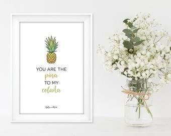 A4 Tropical Wall Art Print | Pineapple