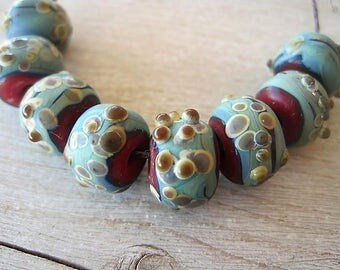Lampwork Etched Rustic 8 Glass Red and Blue Raku Textured Beads
