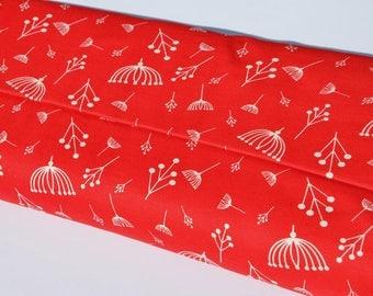 Organic Jersey interlock | Birch - dandelions pattern white red dandelion fabric by the metre