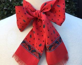 Silk Scarf Designer GINNIE JOHANSEN Paisley Red and Black  Ladies Accessory