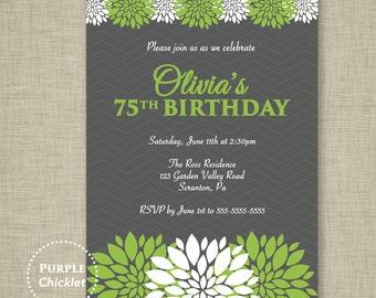 Lime Green Invite 75th 30th 40th Floral Birthday Invite Flower spring invite Quinceañera Invitation Party Printable Invite JPEG file 339