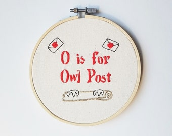 O is for Owl Post - ABCs of Harry Potter Embroidery Hoop