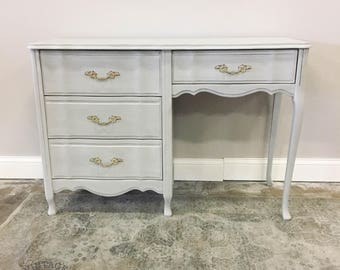 AVAILABLE: Grey Painted French Provincial Desk / Vanity
