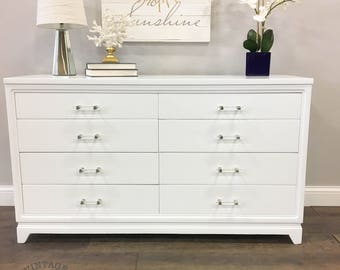 AVAILABLE: White Modern Eight Drawer Dresser