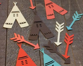 Brown Cream Coral Teal Teepee and Arrow Table Confetti Decor Decoration Centerpiece Tribal Native American Themed Birthday Party C053