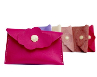 Pink leather case for business cards  Available in other colours Gift for her, girlfriend, sister, mom