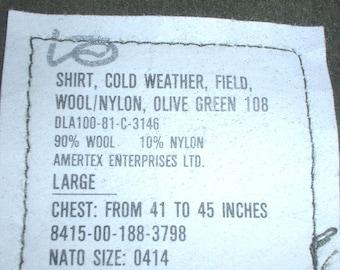 US Army poly-wool M-1951 field shirt Large; Amertex 1981