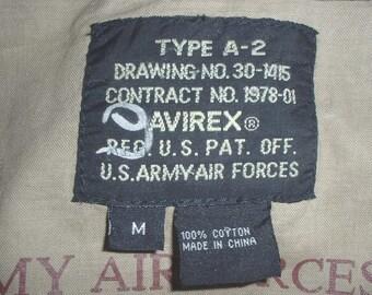 "Avirex brand khaki cotton ""A-2 Style"" jacket, X-Large; great shape!"