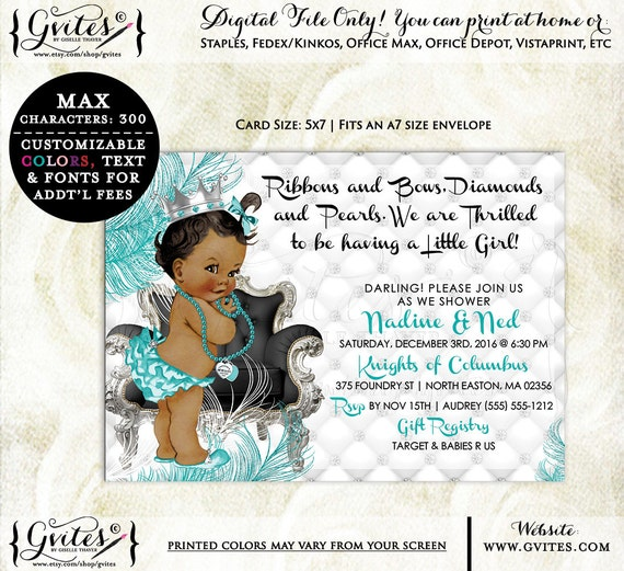 Breakfast at baby's shower invites, baby and co baby shower invitation, turquoise blue baby and company,  blue invites, digital, princess