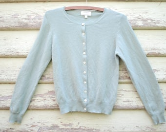 Vintage 90s Cardigan Cashmere Sweater Wool Knitted Grunge Jumper Light Green Cardi  Vtg 1990s Size XS-S