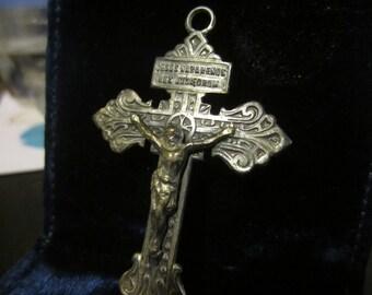 1940's Vintage Silver Religious Cross Pendant