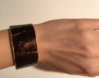 Bracelet Doha cuir et laiton