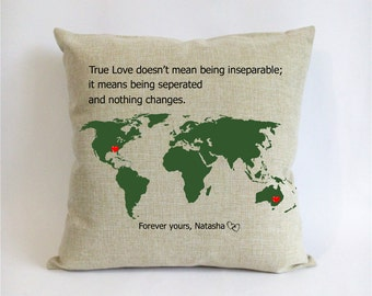 custom Christmas couple pillowcase-world map boyfriend gift-true love doesn't means inseparable;it means being separated and nothing changes