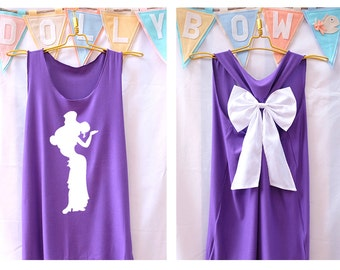 Meg Hercules Princess Tank Premium with Bow : Workout Shirt - Tank Top - Bow Shirt - Razor Back Tank-Disney shirt- Hercules tank - Princess