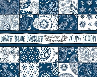 Navy Blue Paisley Digital Paper, Seamless pattern, Hand Drawn  - 20pcs 300dpi (paper crafts, card making, scrapbooking) Commercial use
