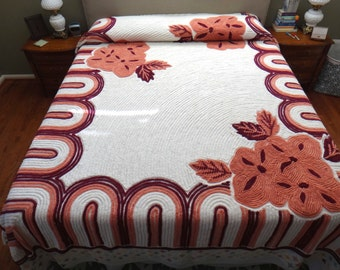 Dramatic Deco Vintage Chenille Bedspread with Burgundy, Mauve and Cream Florals Incredibly Romantic, Feminine