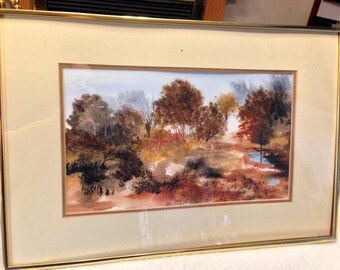 SALE- W. Metzler Original Watercolor Rustic Fall Autumn Landscape Painting- Signed and Framed