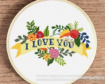Floral wreath cross stitch pattern - I love you - Instant download - Flowers pattern PDF - Valentine's Day or Wedding