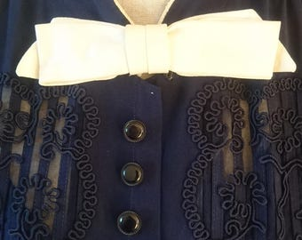 1940s embroidered bow navy dress