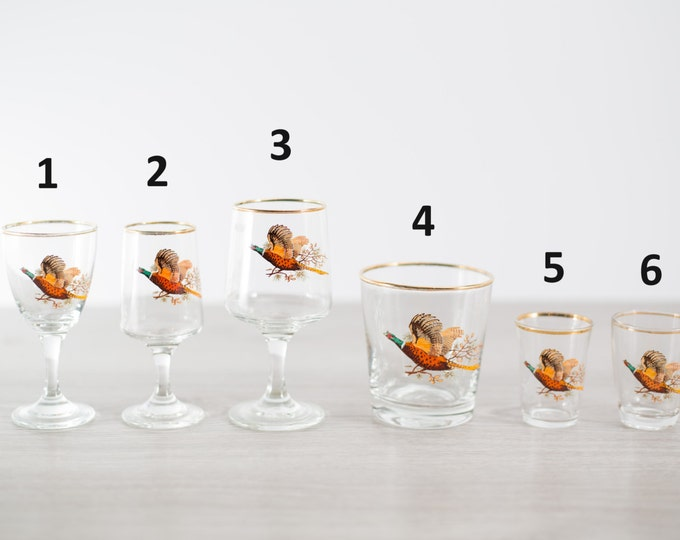 Pheasant Bird Bar Glasses / Country Fall Autumn Christmas Holiday Tableware Mancave Barware Dad Men Shot glasses Aperitif Flying Bird