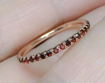 18k garnet full eternity band 16mm rose gold garnet pave matching band natural garnet wedding