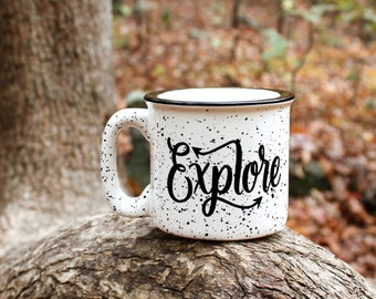 Explore Mug 15 oz Campfire Moms, Dads and Grads Speckled Mug Fathers Day Gift Hand lettered WildandFreeDesigns