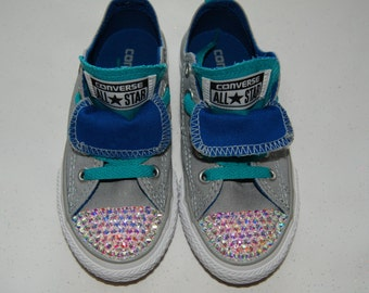 K11 Unisex kids grey low top Converse with AB rhinestones