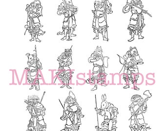 Asian zodiac rubber stamp set astrology japanese  samurai / Asian rubber stamps (170300)