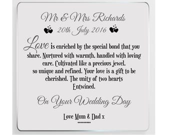 Personalised Wedding Day Poem Glass  Plaque
