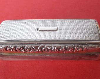 Antique Sterling Silver Hinged Pill Box With (6) Hallmarks