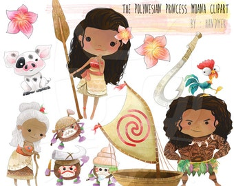 The Polynesian Princess Moana , princess moana clip art - Instant Download - PNG Files.