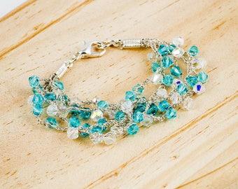 Blue bracelert, Swarovski bracelet, Blue Swarovski bracelet, Crocheted bracelet,  mothers day gift, gift for her, gift for wife, from Israel