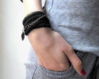 Crochet unisex wrap bracelet or necklace.  - textile jewelry with leaf pendant bronze